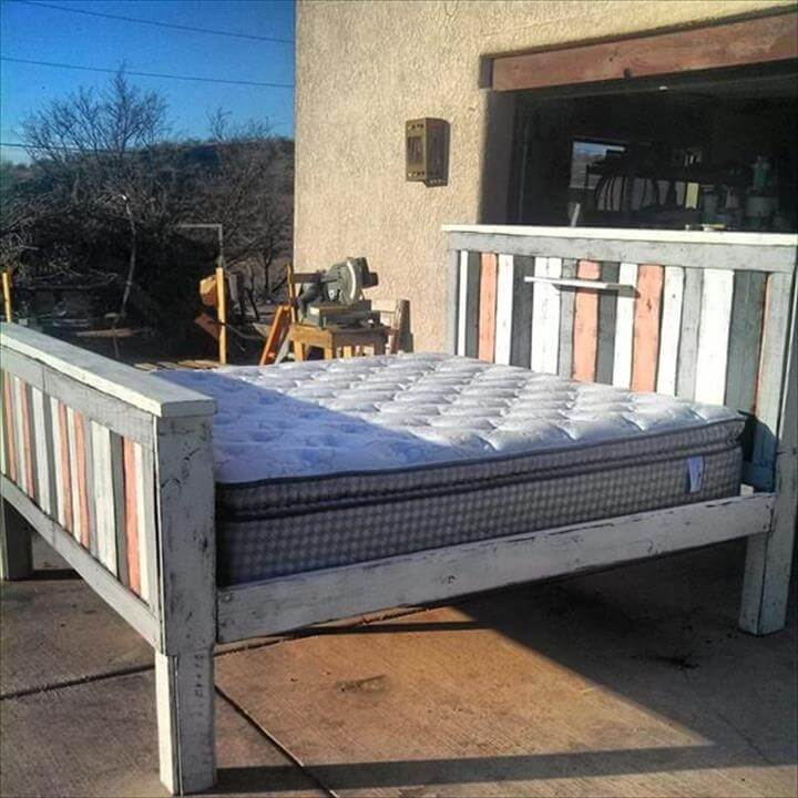 sturdy pallet bed frame with headboard